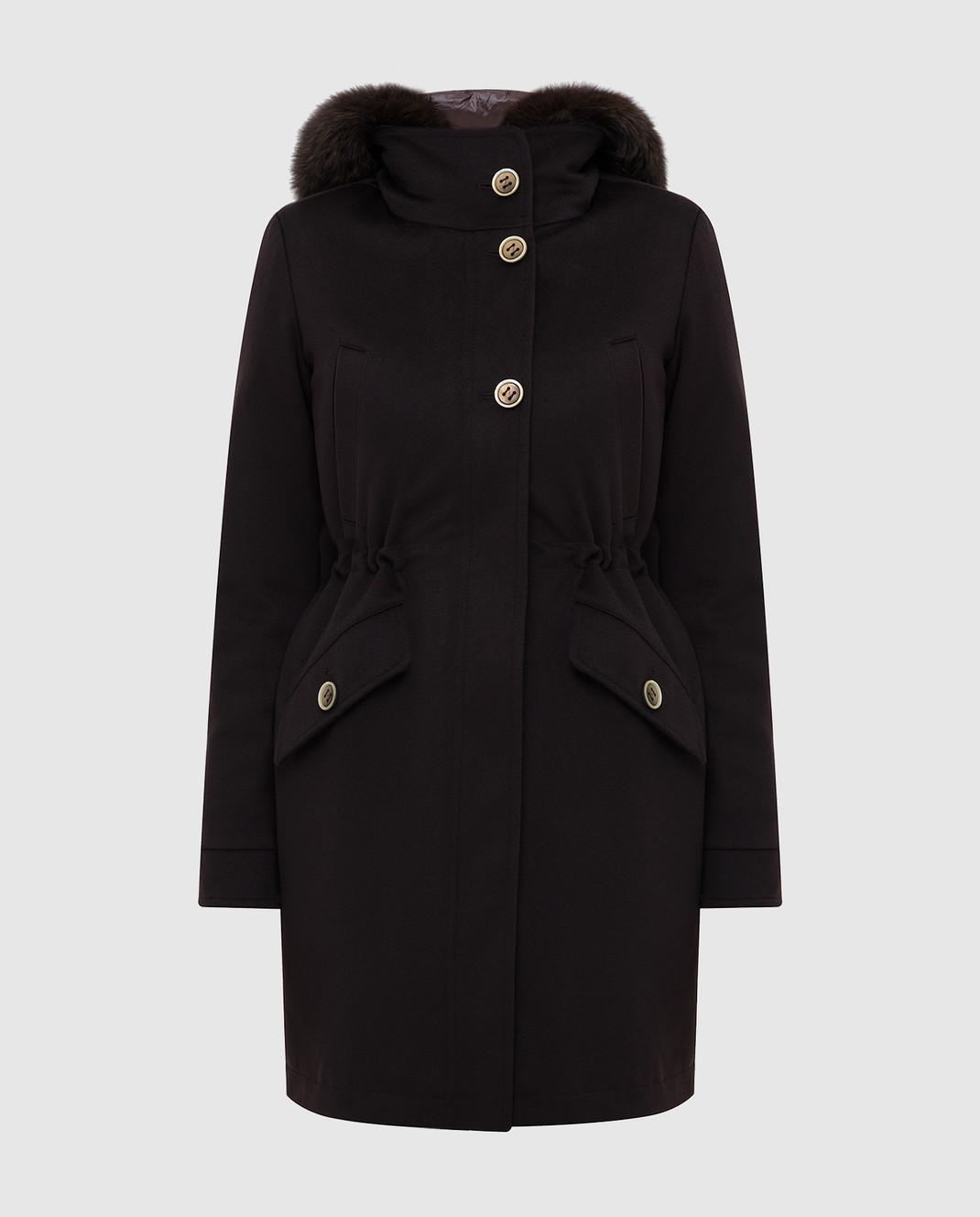 Heresis Темно-коричневое пальто из шерсти P1290VO