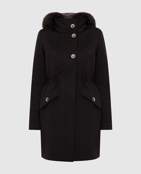 Темно-коричневое пальто из шерсти