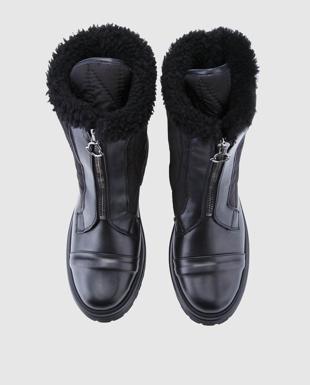 Moncler Черные кожаные ботинки 20314 изображение 4