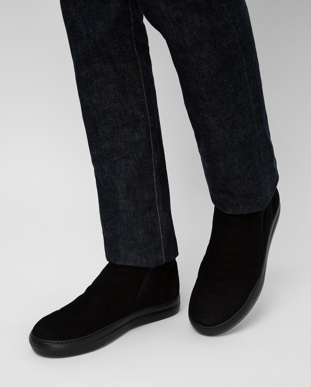 Gianfranco Butteri Черные замшевые ботинки на меху изображение 2