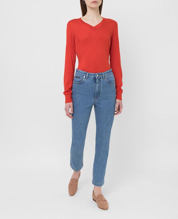 Алый пуловер из шелка hover