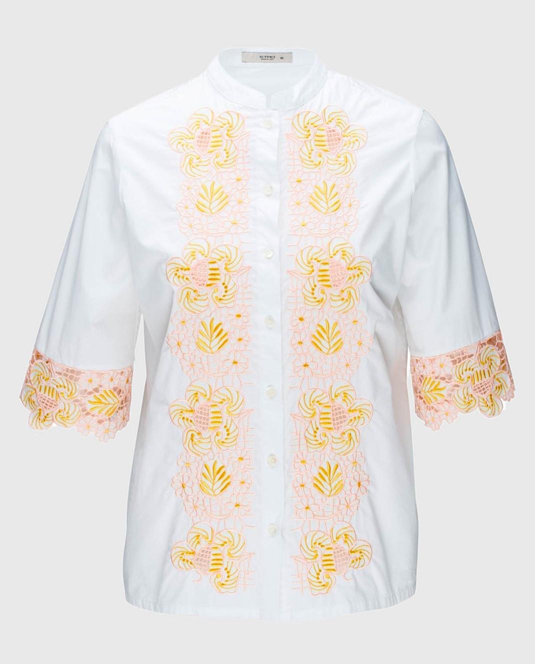 Etro Белая блуза с вышивкой D15180