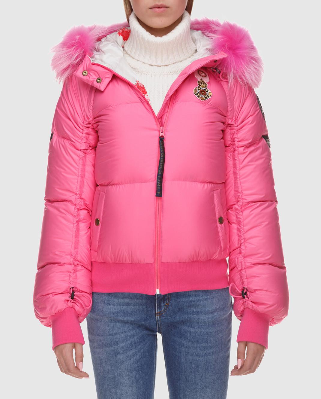 Mr&Mrs Italy Розовый пуховик с мехом уссурийского енота изображение 3