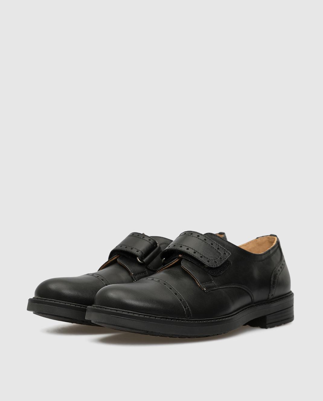 Zecchino D'oro Детские черные кожаные дерби M1575023640 изображение 2