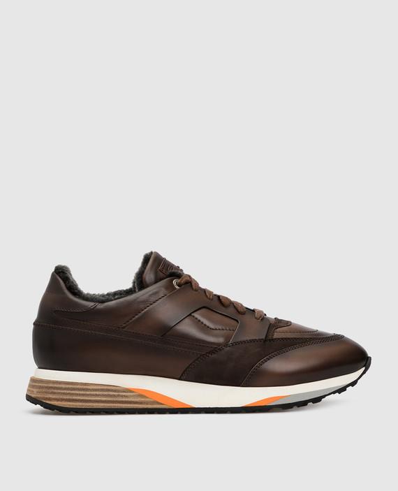 Темно-коричневые кожаные кроссовки на меху