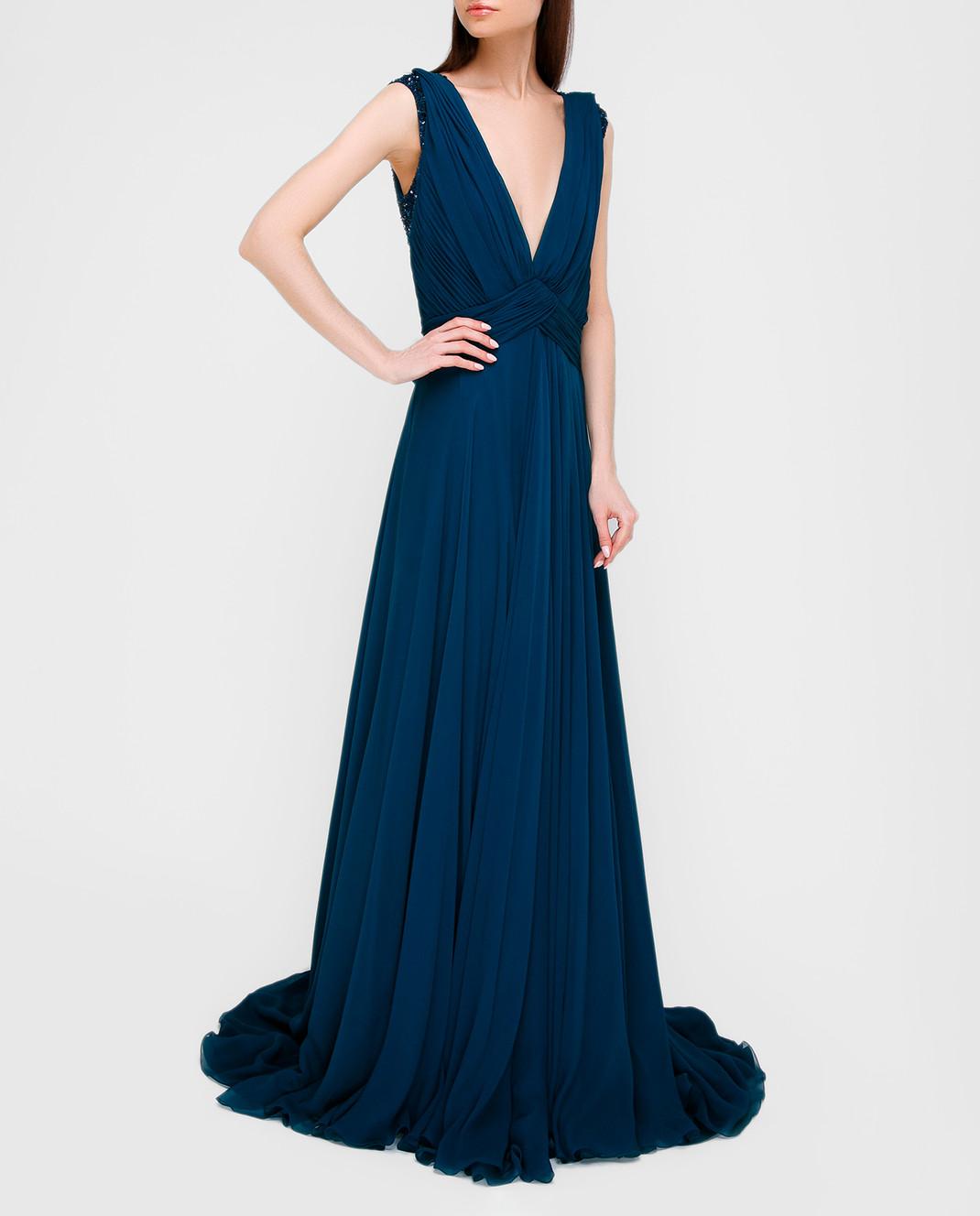 Темно-синее платье из шелка со шлейфом Jenny Packham ZD141L — Symbol