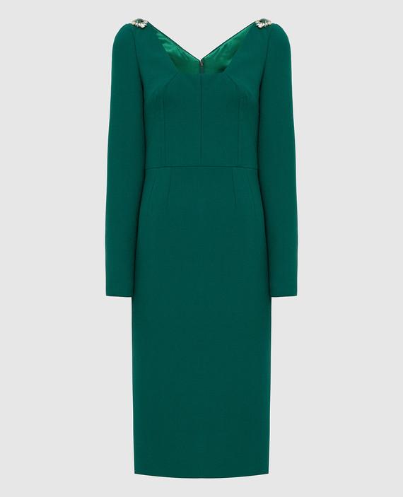 Зеленое платье из шерсти