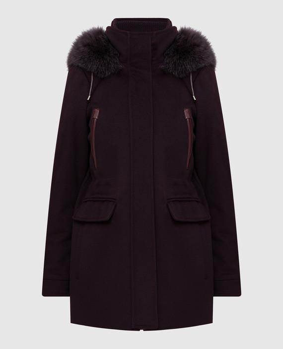 Бордовое пальто из шерсти