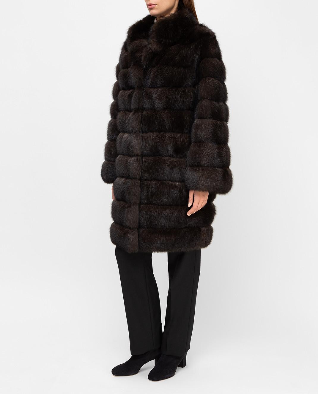 Real Furs House Темно-коричневая шуба из соболя SBR28622DARKSILV290 изображение 3