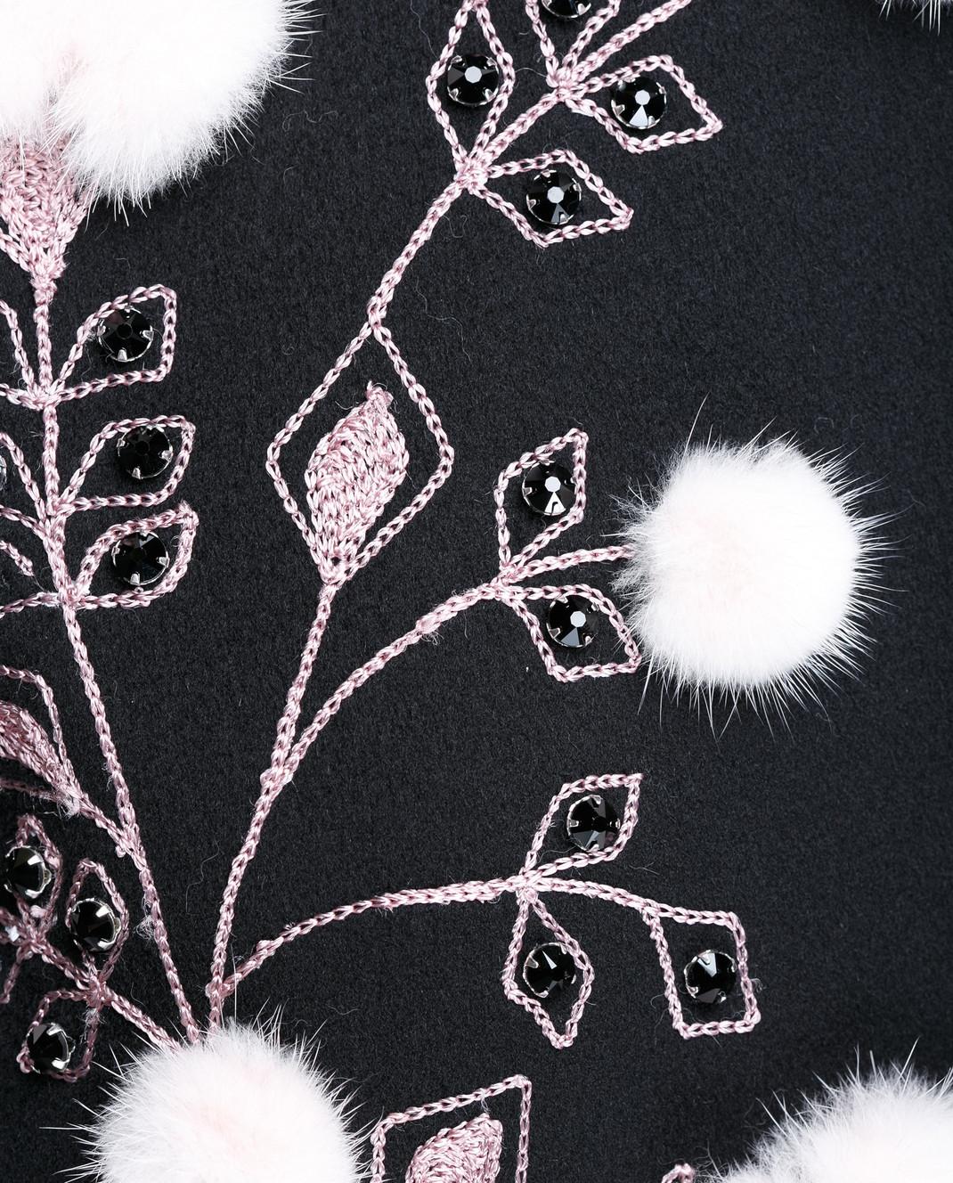 Heresis Черное пальто с меховыми деталями M9095RO изображение 5