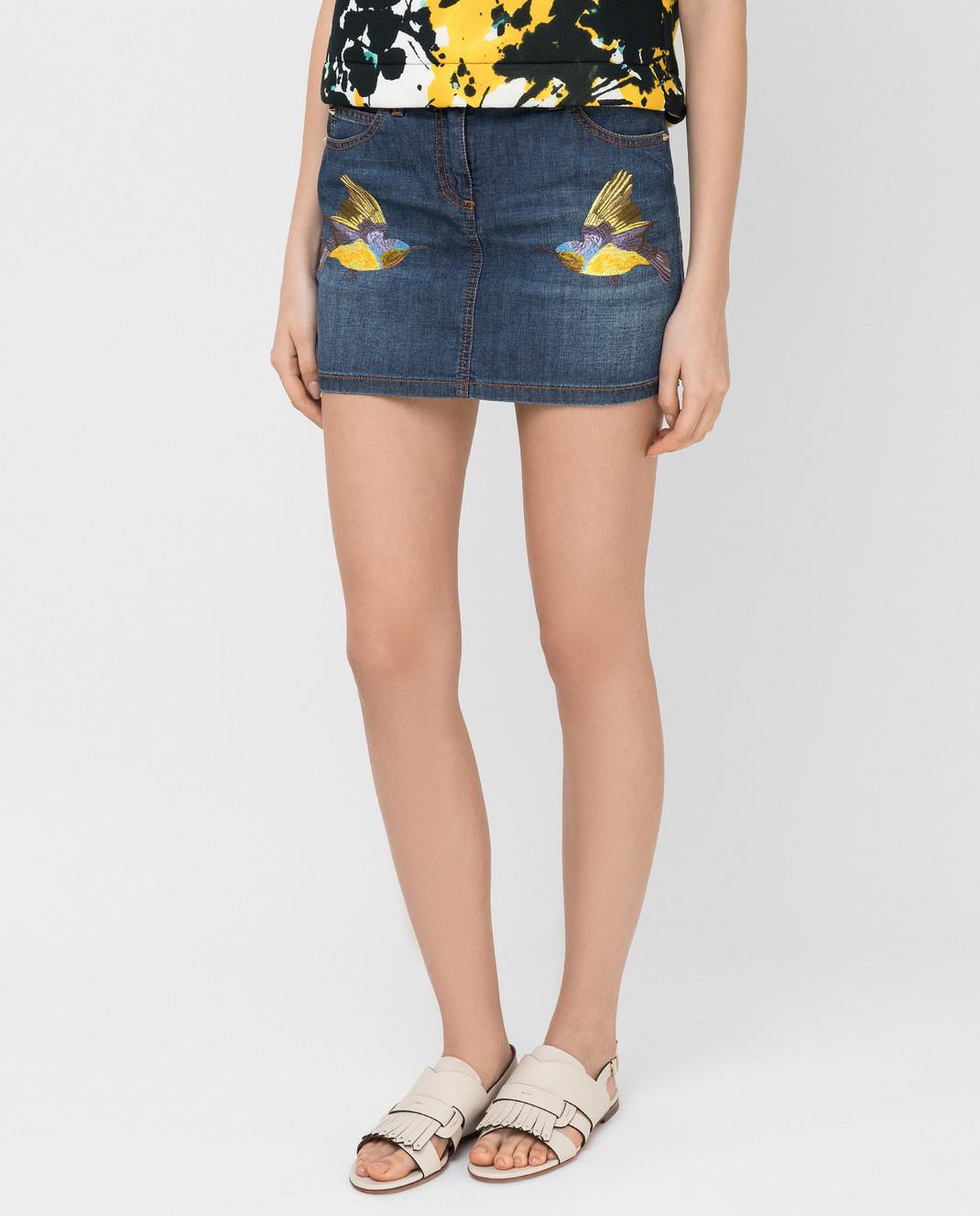 Roberto Cavalli Синяя джинсовая юбка CQJ320 изображение 3