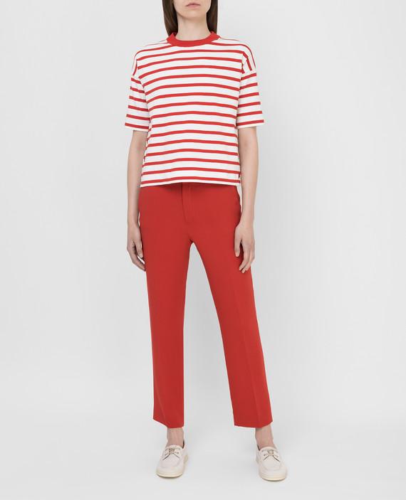 Красные брюки из шелка hover