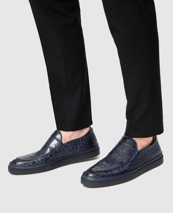 Синие туфли из кожи аллигатора hover