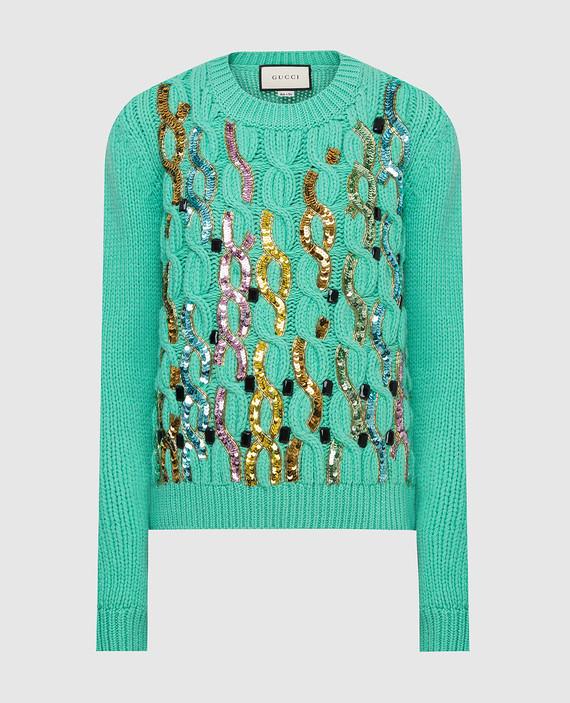 Зеленый свитер из шерсти