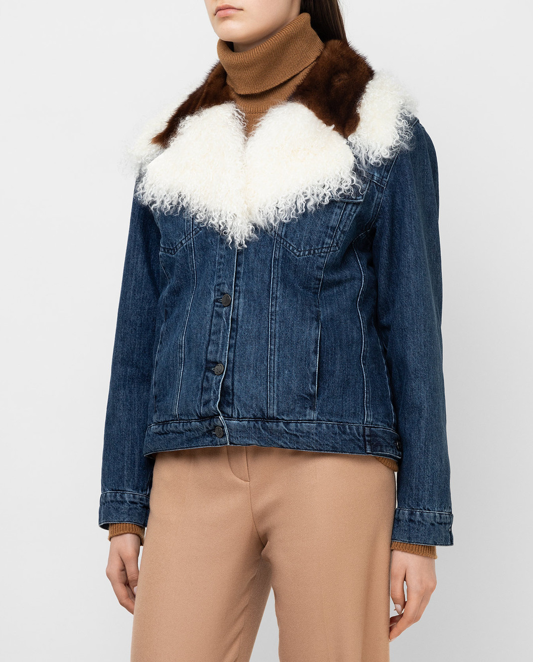 Simonetta Ravizza Синяя джинсовая куртка с мехом норки JALE3 изображение 3