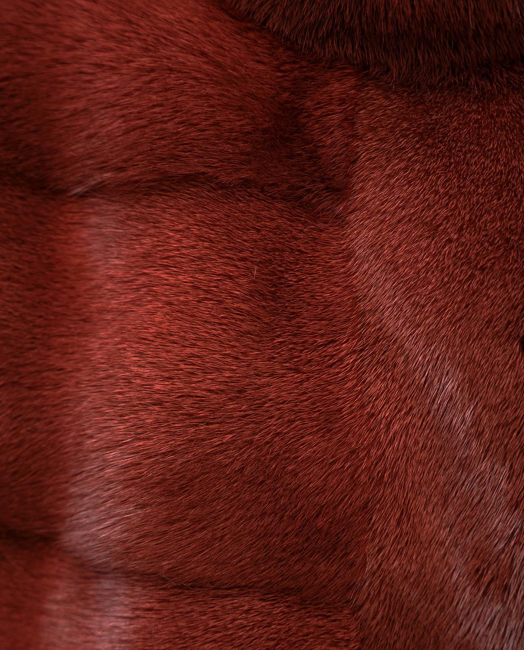 Florence Mode Бордовая шуба из меха норки с поясом и митенками 18N145SILVERBLU изображение 5
