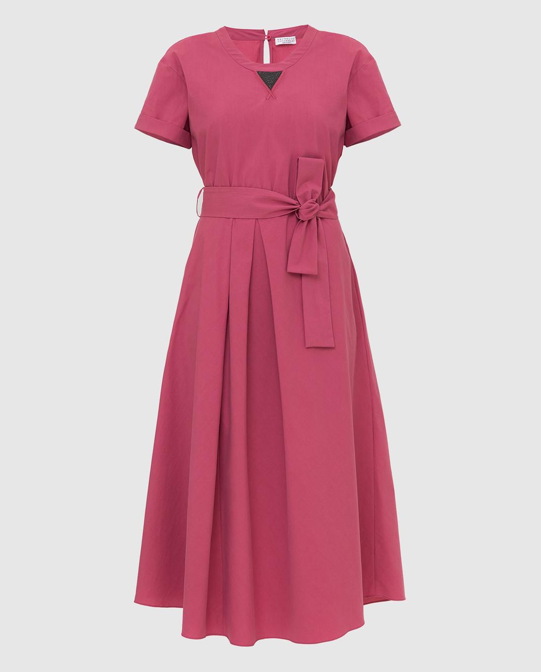 Brunello Cucinelli Розовое платье MH127ABV72