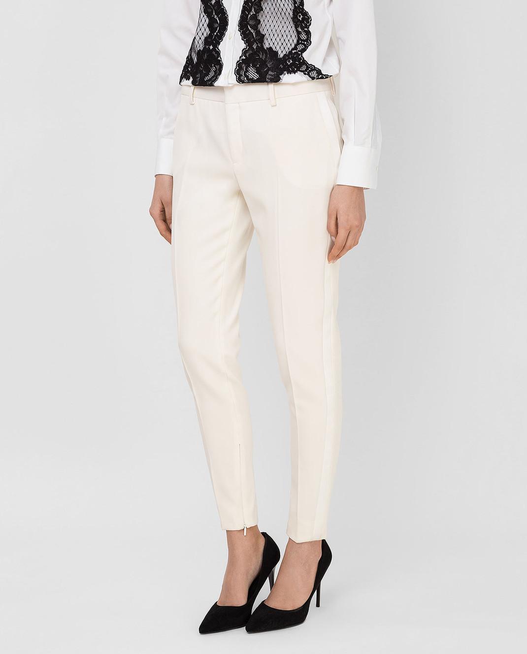 Saint Laurent Светло-бежевые брюки из шерсти 516111 изображение 3