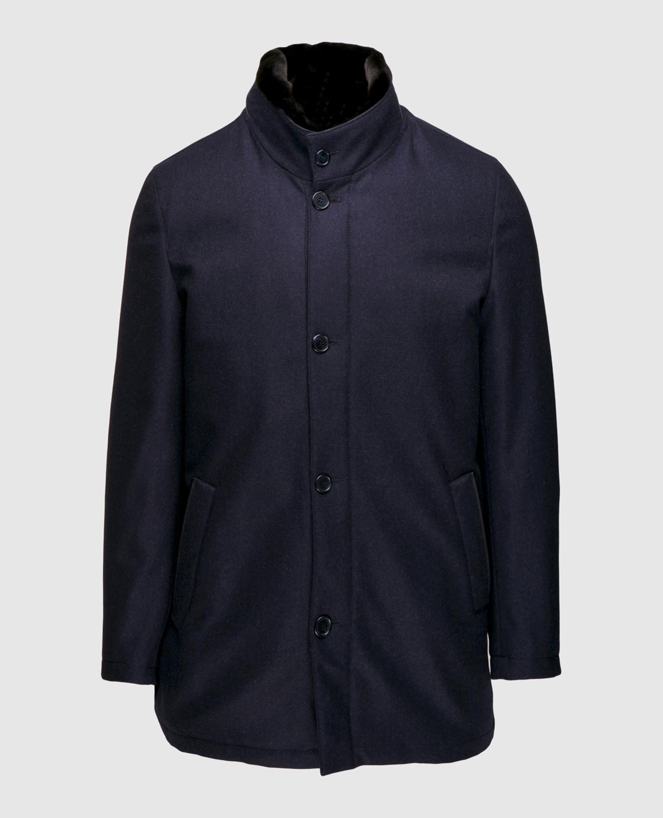 Синяя куртка из шерсти и кашемира на подкладке из меха нутрии