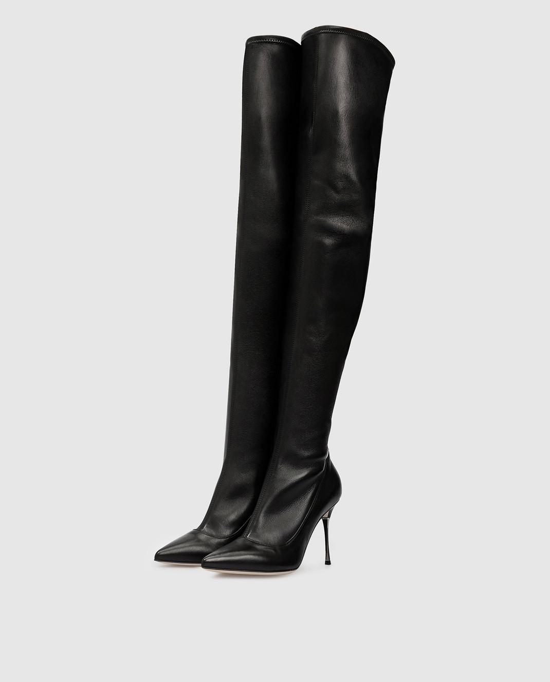 Sergio Rossi Черные кожаные ботфорты изображение 3