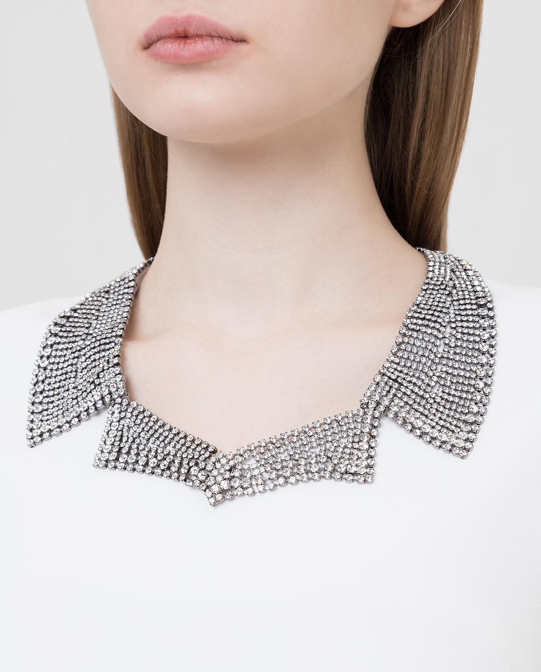 Ermanno Scervino Белое платье с кристаллами D362Q366UKF изображение 5