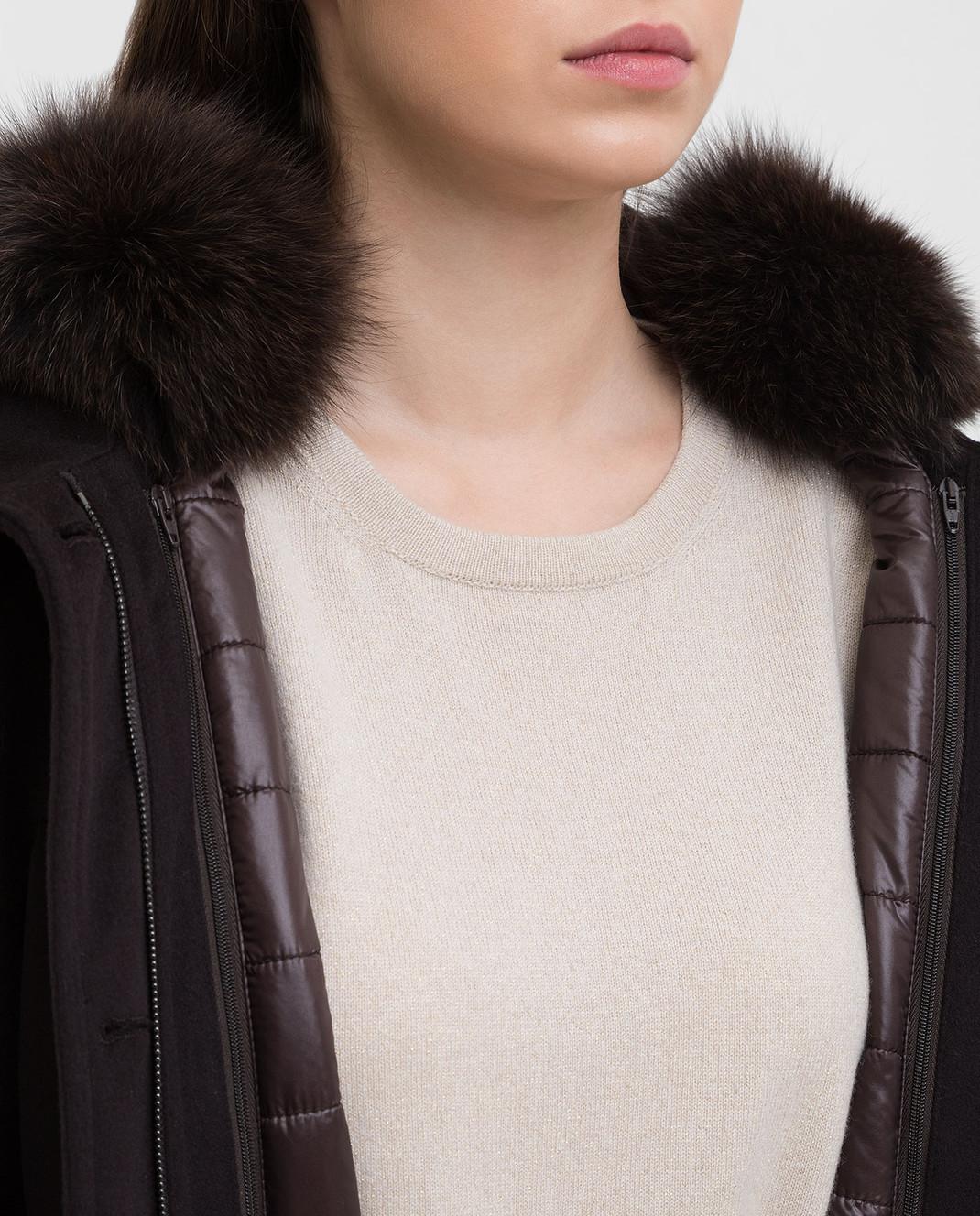 Heresis Темно-коричневое пальто из шерсти P1290VO изображение 5