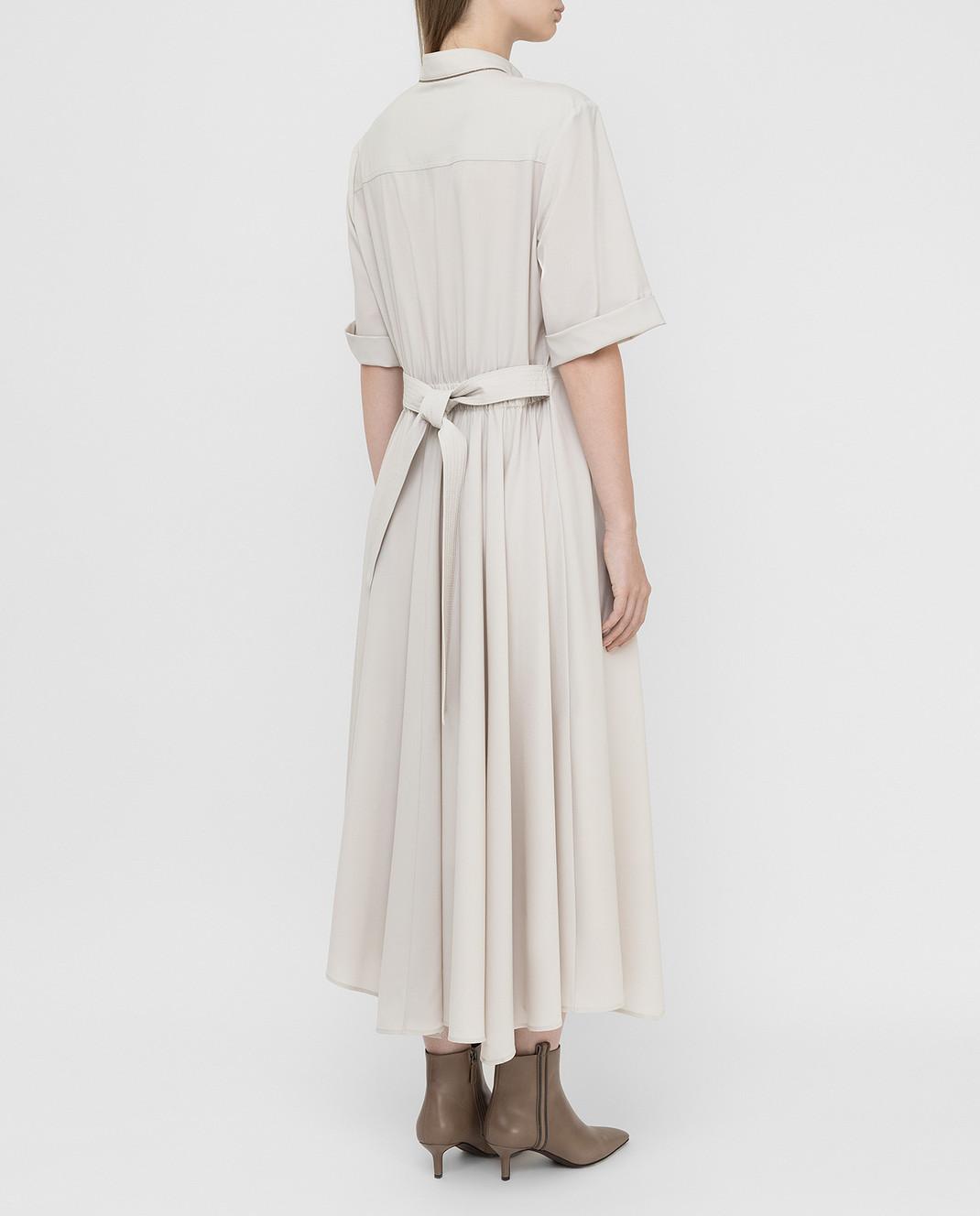 Brunello Cucinelli Светло-бежевое платье из шерсти изображение 4