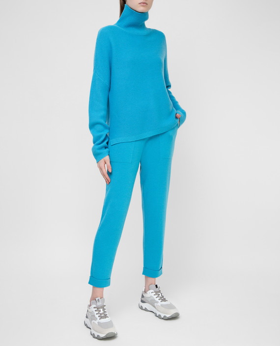 Голубые брюки из кашемира hover