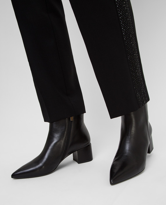Черные кожаные ботильоны hover