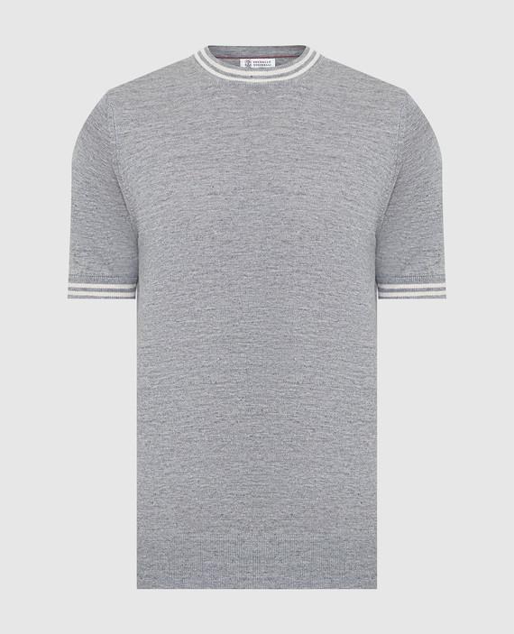 Серая футболка из льна