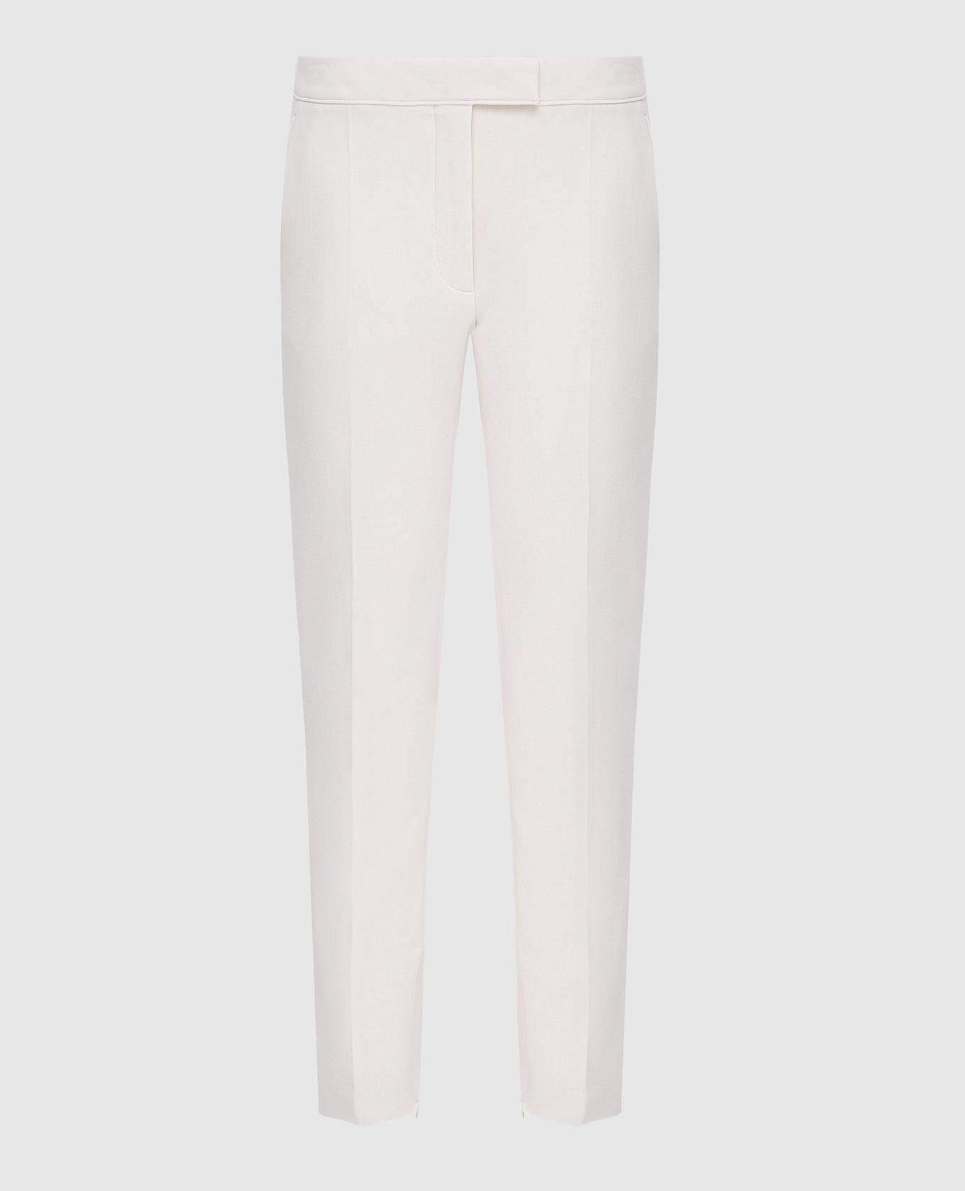Светло-бежевые брюки из шерсти