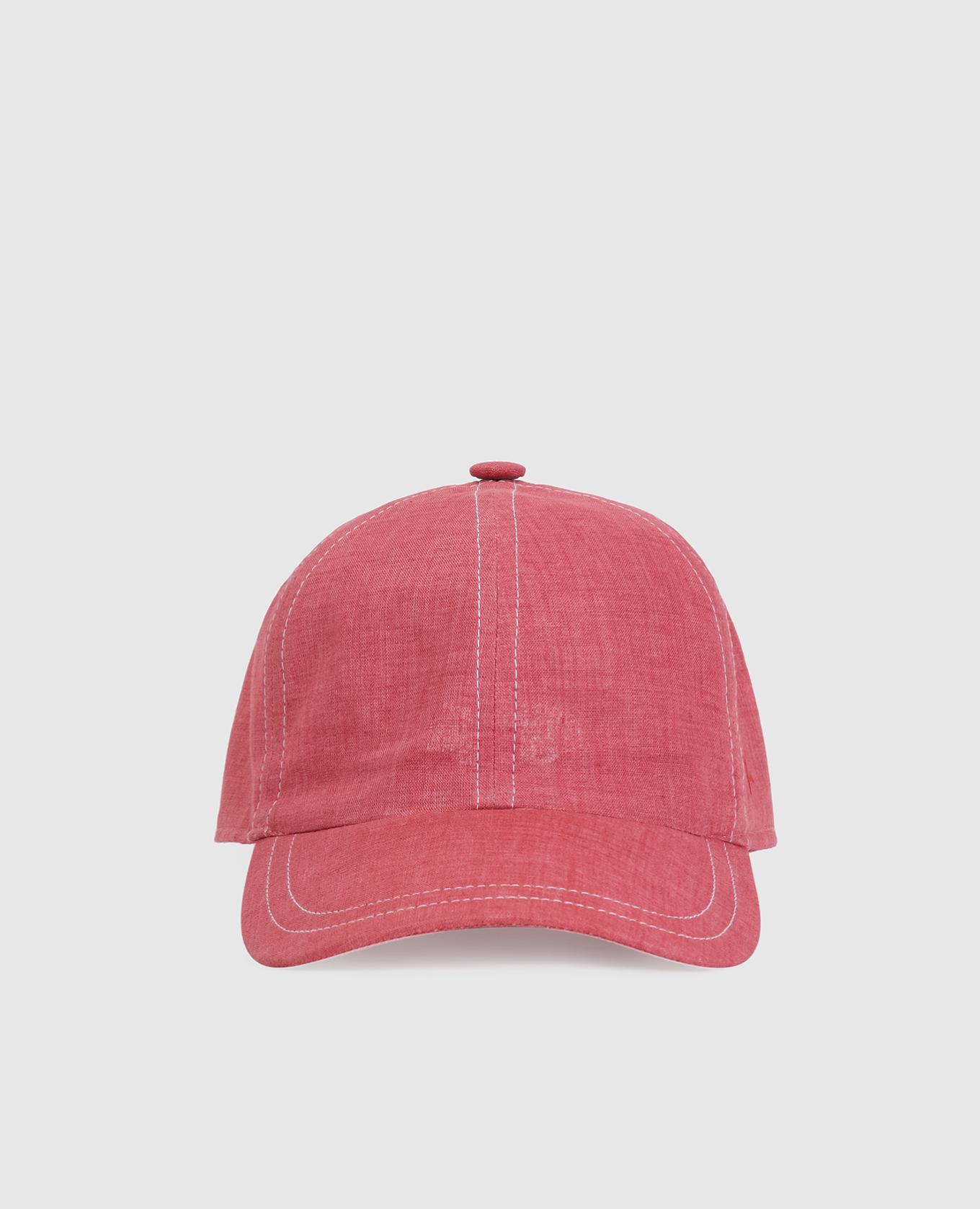 Красная кепка из льна