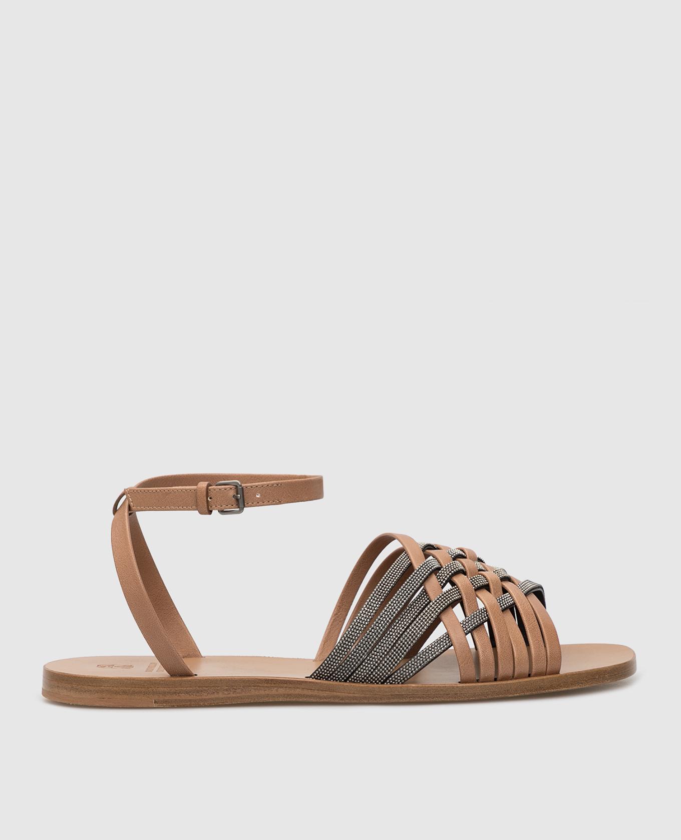 Темно-бежевые кожаные сандалии