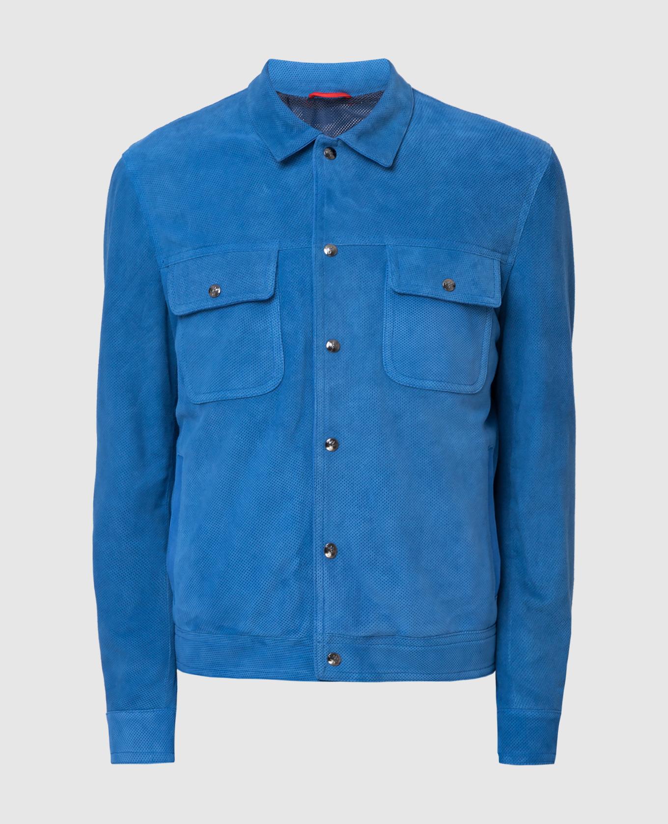 Синяя замшевая куртка