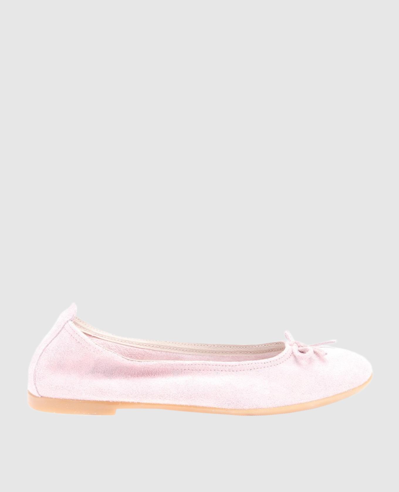 Детские розовые балетки из замши