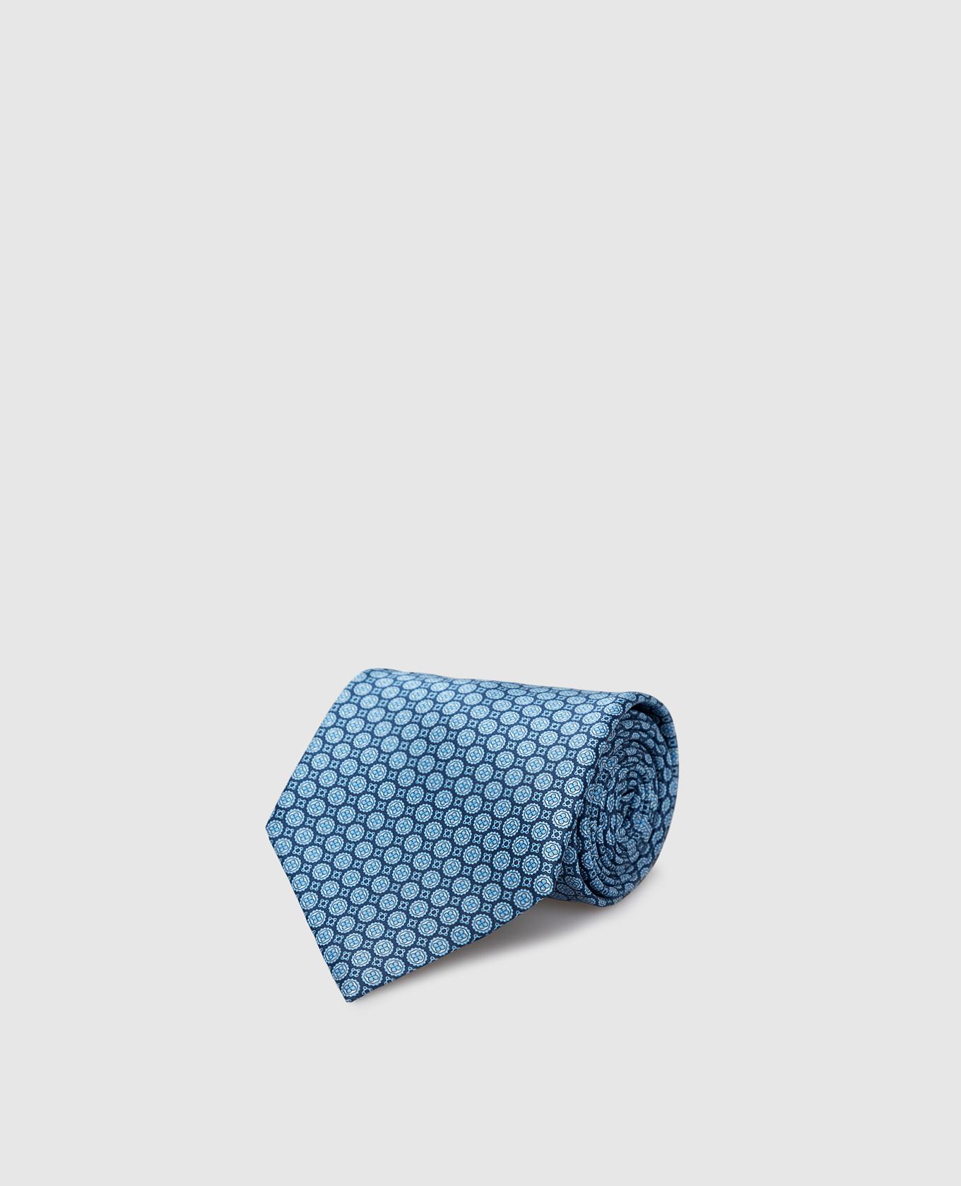 Темно-синий галстук ручной работы из шелка