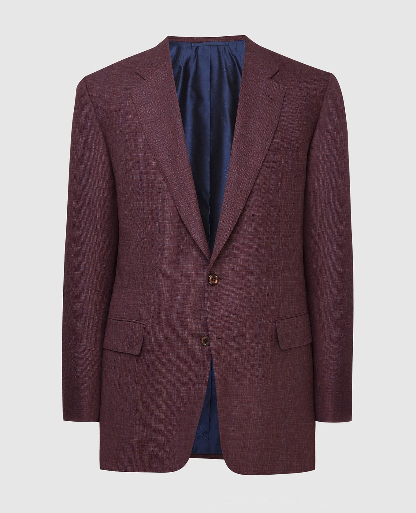Бордовый пиджак из шерсти, кашемира и шелка