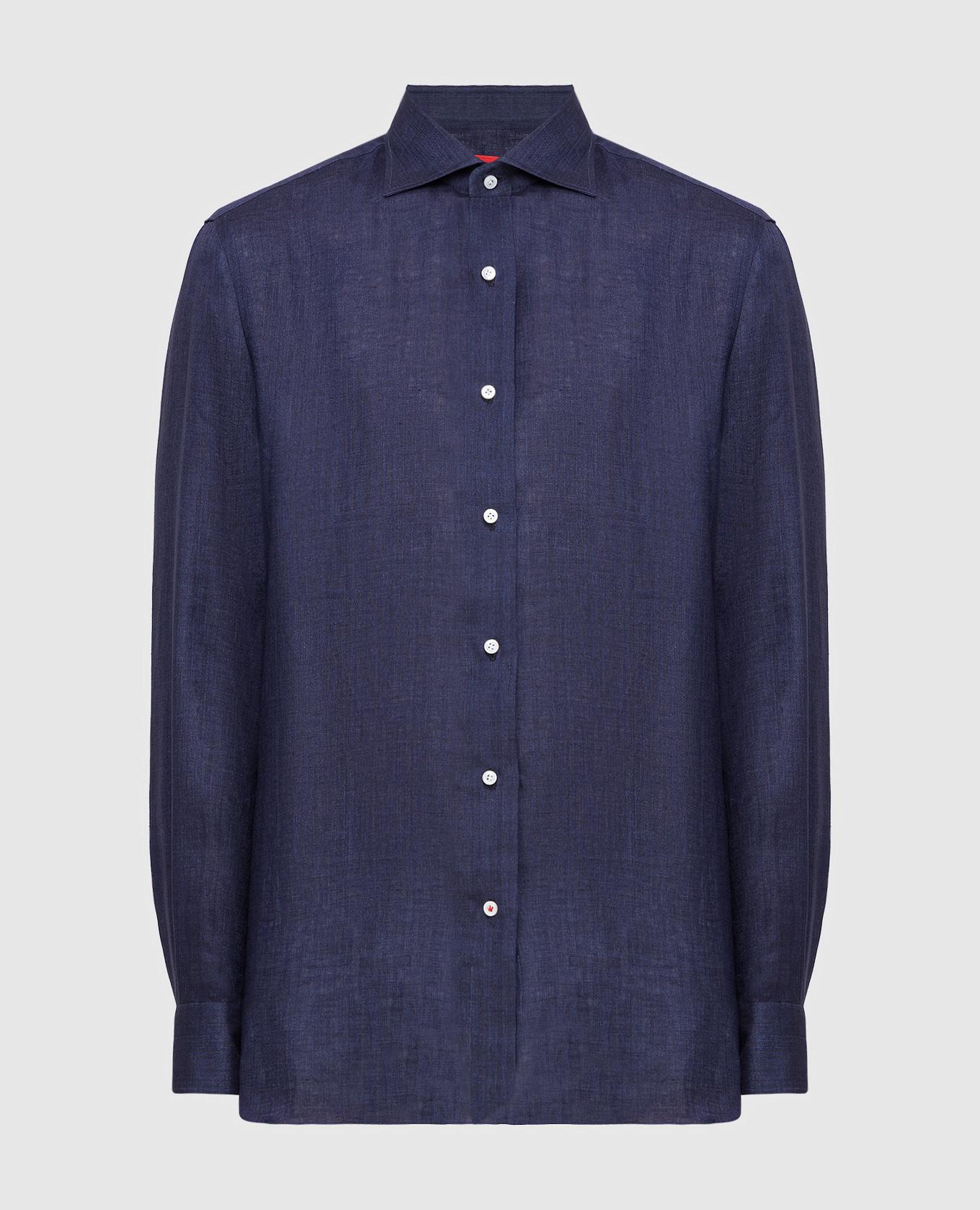 Темно-синяя рубашка из льна