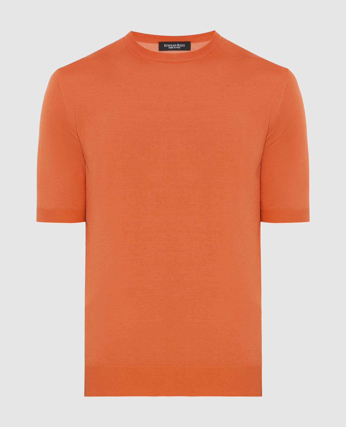 Оранжевая футболка из шелка