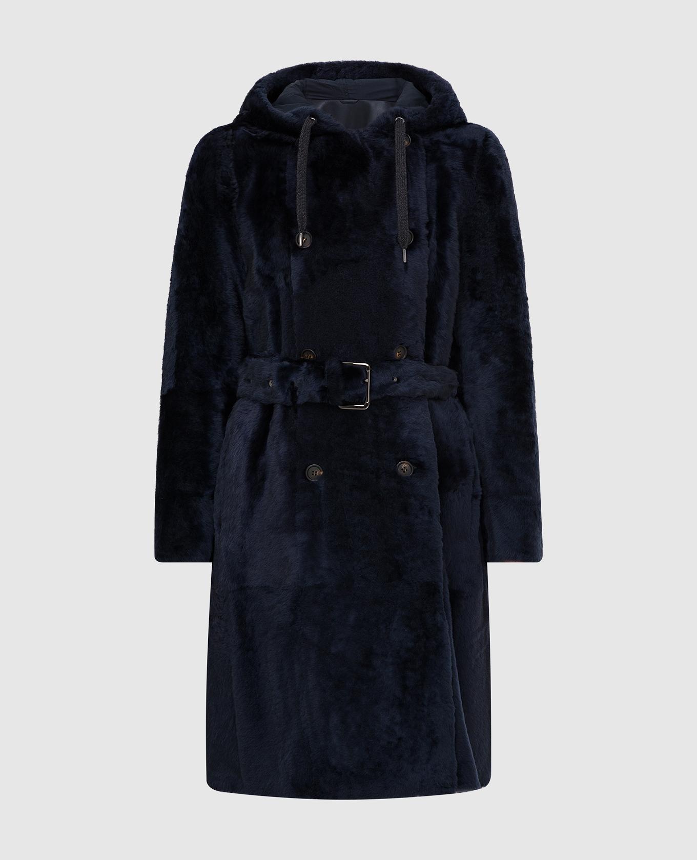 Темно-синяя шуба