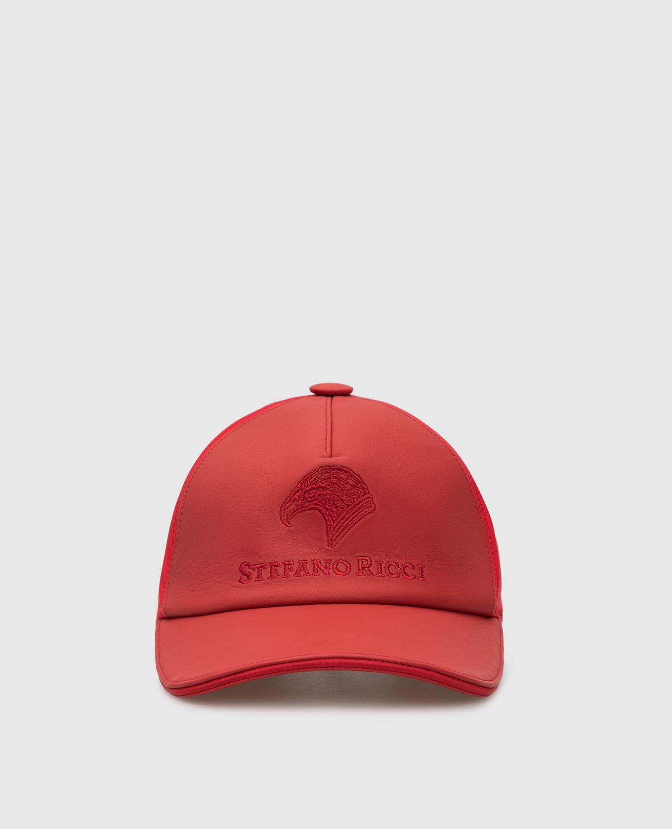 Красная кепка из кожи ягненка и шелка