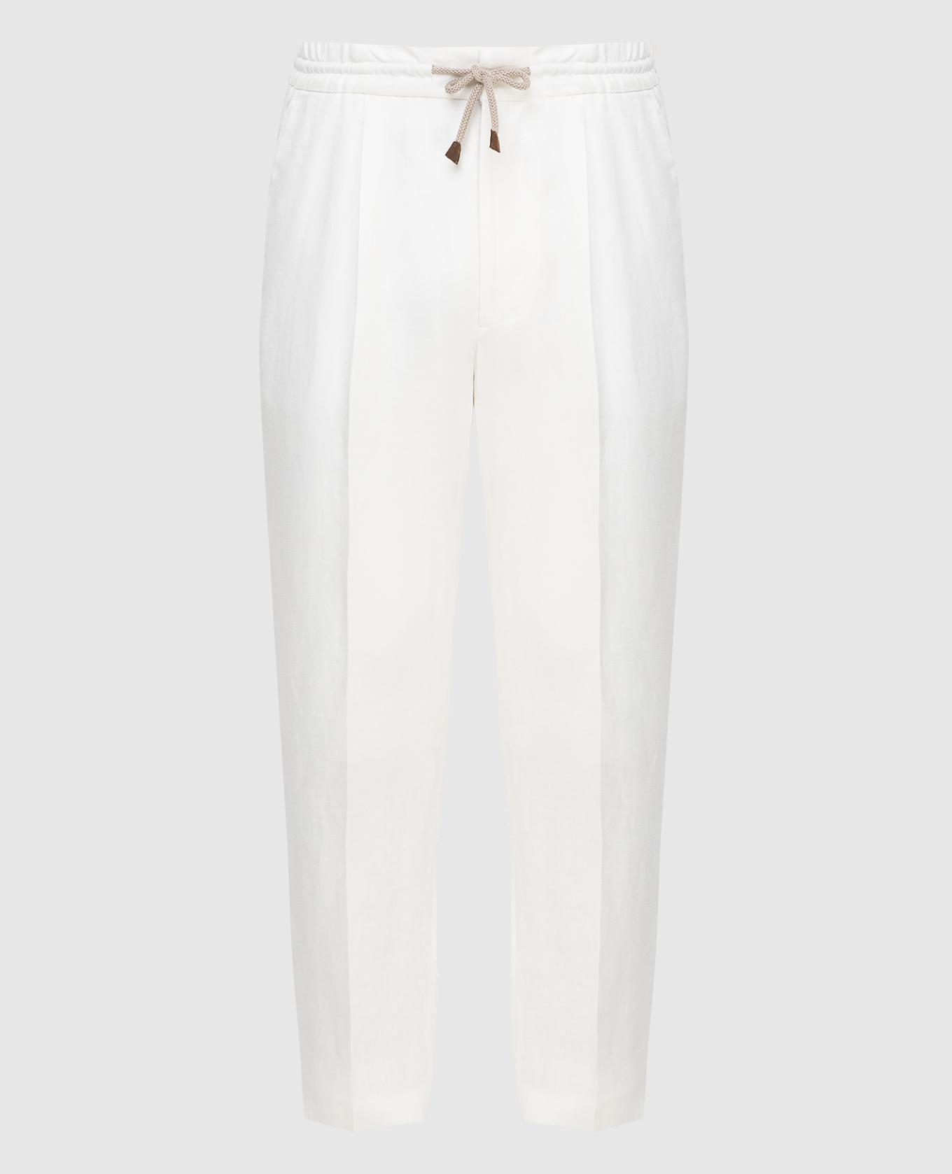 Светло-бежевые брюки из льна