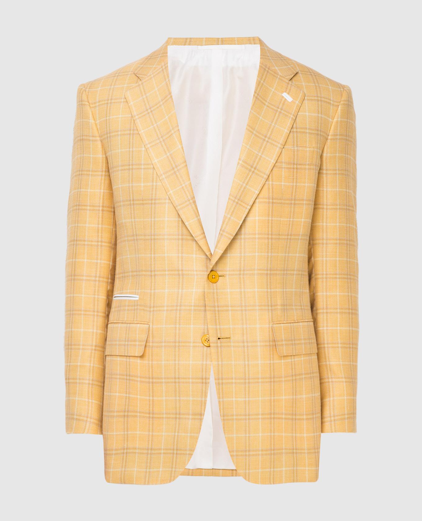 Желтый пиджак из шерсти, кашемира, шелка и льна