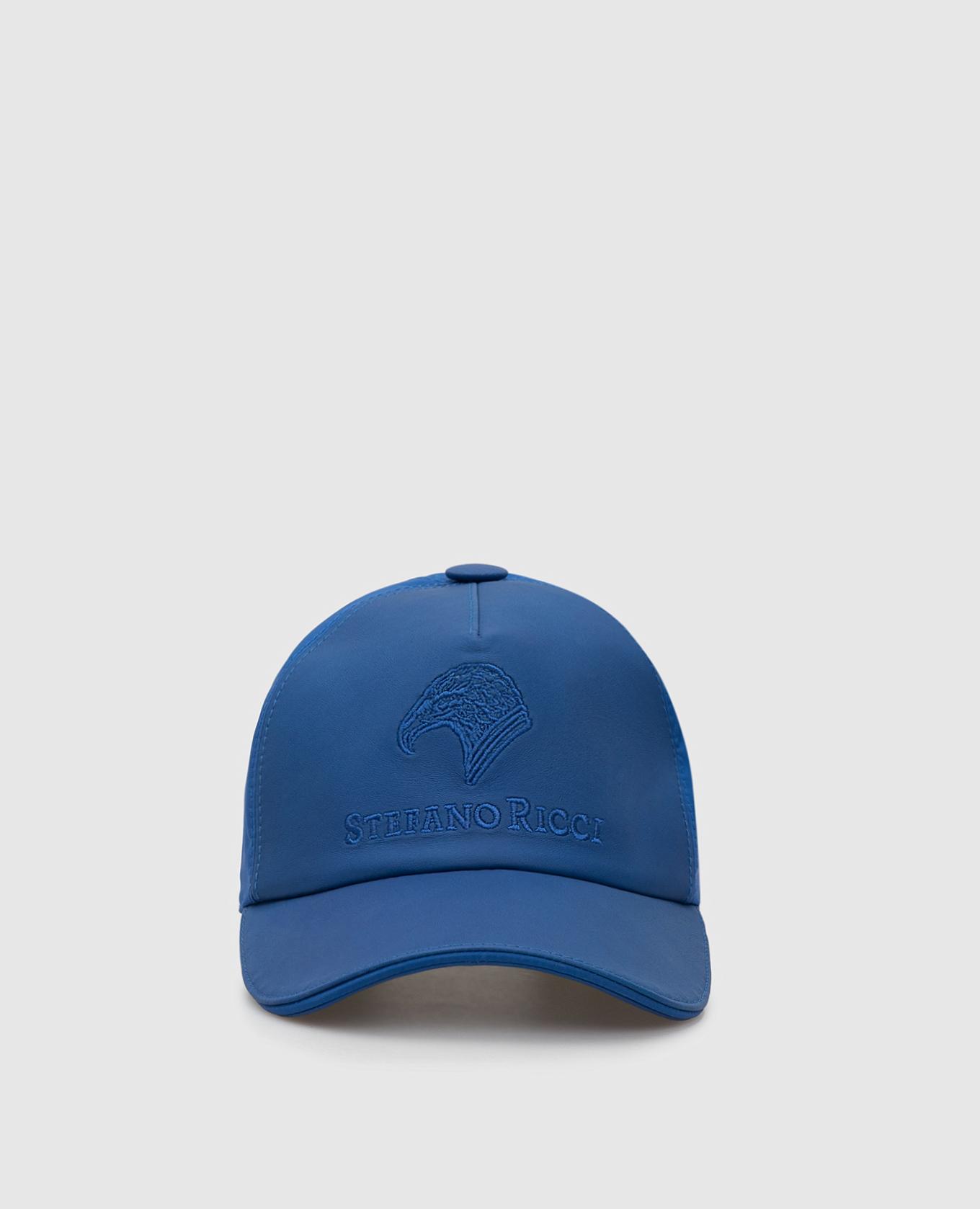 Синяя кепка из кожи ягненка и шелка