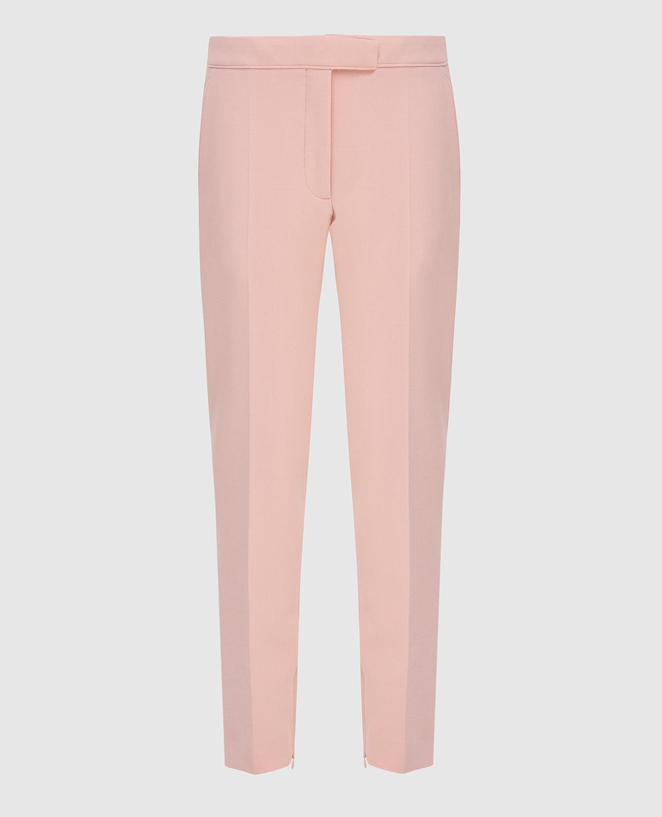 Розовые брюки из шерсти