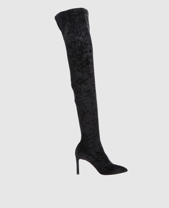 Черные бархатные ботфорты Lorraine