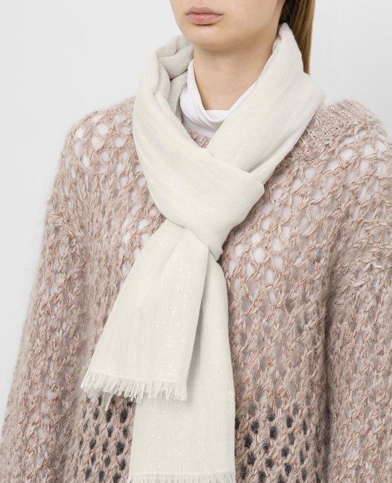 Белый шарф из кашемира и шелка hover