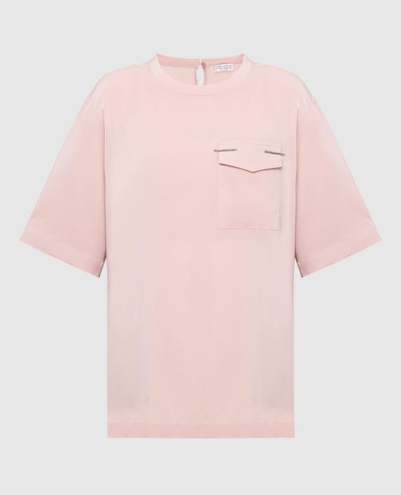 Розовая футболка из шелка